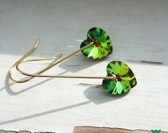 Green Crystal Heart Earrings, Small Vitrail Green Heart Earrings, Celtic Earrings, Irish Earrings, St Patrick's Day, Valentine's Day