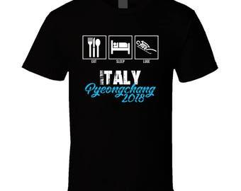 Eat Sleep Luge Team Italy Pyeongchang 2018 Winter Olympics T Shirt