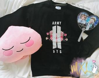 BTS & ARMY floral logo Crewneck Sweatshirt (Design by G-A-B-J-O-O-N)
