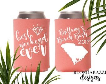 SC Bachelorette Party Favors - Can Coolers - Beach Charleston Edisto Hilton Head Island Folly Beach Myrtle Kiowa South Carolina