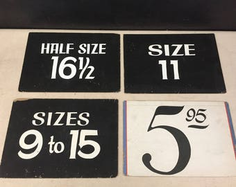Store Sign - Vintage Cardboard Display Sign - Men's Clothing Display - Department Store Signs - Prop - Number Sign - Sizing Sign