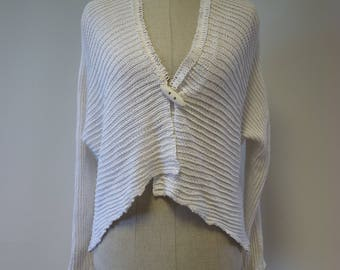 Knitted white linen cardigan, M size.