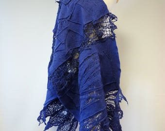 WINTER SALE. Boho warm felted blue shawl, perfect for gift.