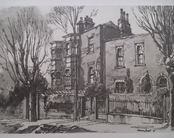 2 Lower Terrace Hampstead London - Home of John Constable -Early Post-War -Norman Janes 1946 - London Architecture - Matted - Ready to Frame