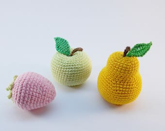 3pieces - Crochet fruits Sensory toys, kids learning toys, baby decor, kids gift, play Food Set, decorations for the kitchen.