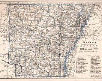 Vintage Arkansas Map Etsy - Us map 1930