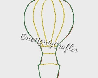 Hot Air Balloon Flasher Feltie Embroidery Digital Design File