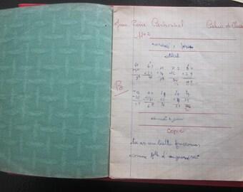 Carnet d'école,cahier partiellement écrit,calligraphieVintage French 1940s school notebooks,partially filled note book,calligraphy,penmaship