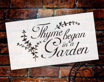 "Thyme Began In A Garden - Word Stencil - 11"" x 6"" - STCL417 - by StudioR12"
