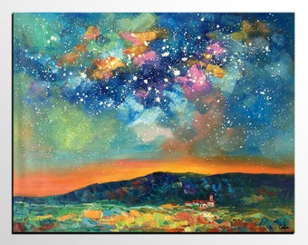 Large Art, Canvas Artwork, Acrylic Painting, Original Art, Abstract Art Painting, Wall Art, Canvas Painting, Night Sky Landscape Painting