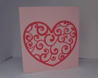 Spiral heart wedding invitation