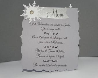White lace snowflake menu card