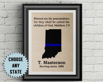 Police Officer Gifts Thin Blue Line Custom Police Gifts Blessed Are The Peacemakers  Retirement Police Gifts Law Enforcement Gifts