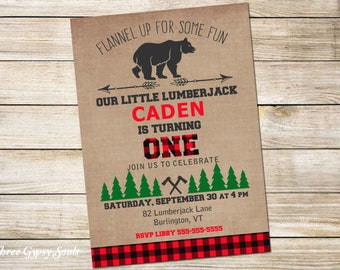 Lumberjack Birthday Invitation Lumberjack 1st Birthday Invitation Wilderness Red Plaid Lumberjack Party Lumberjack First Birthday Invitation