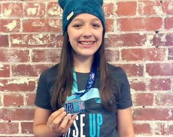 Rise Up 5K Limited Edition Beanie, Take A Stand Crochet Beanie, crochet teal beanie, pussyhat, kitty cat hat