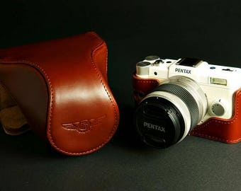 For Pentax Q Leather Cameras Case, Pentax Camera Case, Handmade Leather Camera Protector, customized camera bag