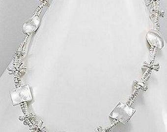 10% SALES Sterling Silver Necklace, Multi Strands Silver Necklace, 2 Strands Sterling Silver Necklace (31.9 grams, 43cm long)