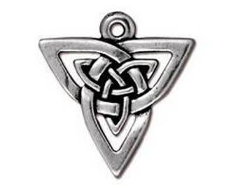 TierraCast™ Open Triangle Pendant Fine Silver