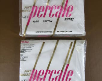 2 packages of vintage DEADSTOCK percale flat sheets Twin Size