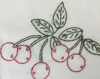 "Hand embroidered ""Cherries"" themed flour sack dish towel"