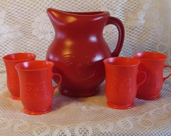 Red Kool Aid Pitcher and Cups, 1970s Plastic Refreshment Set, Smiley Faced Plastic Pitcher and Cups