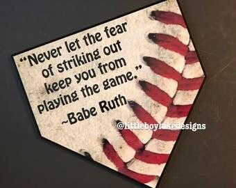 Baseball Decor Baseball Baseball Plaque Home Plate Decor Home Plate Plaque