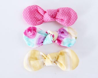 LAST CHANCE: Pink Lemonade Fabric Twist Knot Bow Hair Clip Set-STANDARD Size // Girls Hair Accessory // Pink Dot, Floral, Yellow Stripe