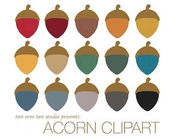 Acorn Clipart, Fall Clip Art, Autumn, Instant Download in Fall Colors, Printable Acorns