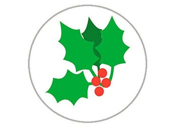 "Christmas Mistletoe Envelope Seals - 1.2"" Christmas Stickers - 144 Fun Holiday Stickers (Holly) - 25158"