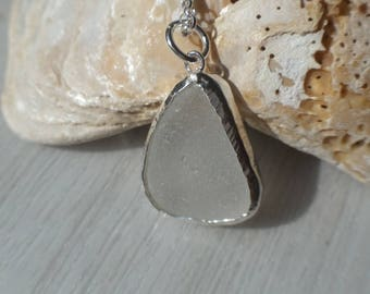 Sea Glass with a Sterling Silver Necklace, Sterling Silver Bezelled Clear Sea Glass Pendant, English Sea Glass, Uk seller.