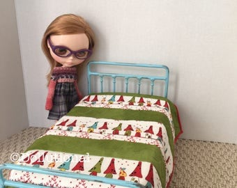 Custom Ooak Quilt for Blythe or similar doll 1:6 scale Blanket Gnome Home