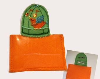 Green Birdcage w-orange Bird ID/Badge Holder with detachable plastic badge insert