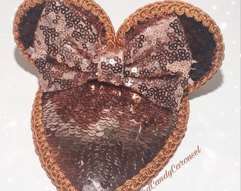 Rose Gold Sequin Mouse Ears Fascinator