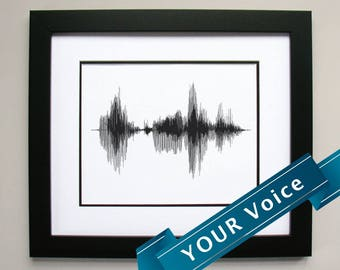 Custom Voice Art Print Gift - Personalized Sound Wave Print, Framed Print, Canvas, or Framed Canvas.  Use Your Own Audio