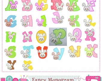 Easter Bunny letters applique,Bunny Monogram A~Z applique,Fonts,Easter Bunny,Alphabet,Easter Letters,Birthday Letters.-1536