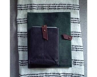 Portfolio Folder // Outside Pocket // Leather Button Closure // Magazines Holder // Service Folder // FOREST