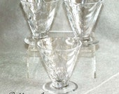 Three Art Deco Thomas Webb Optic moulded Wave Ribbed Clear flint glass Conical Cocktail Glasses c.1930's (ref: 5020)
