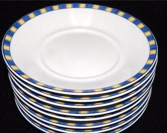 ON SALE Noritake SUMMER Waves 4096 Saucers, Set of 8, Impromptu Line, Fine Porcelain, Excellent Condition