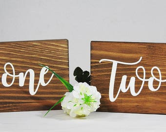 Rustic Wedding table numbers, free standing table names for weddings, custom made wooden signs, wedding table names