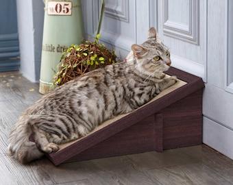 Eco Friendly Cat Scratcher Incline - Espresso Cat Scratching Pad with Organic Catnip (PET-SCRA-2-EO)