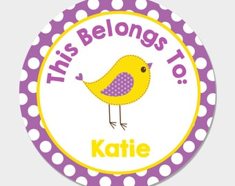 Personalized Back to School Name Stickers - Purple & Yellow Bird Child Name Labels - School Supply Labels - Buy 3 Get 1 Free
