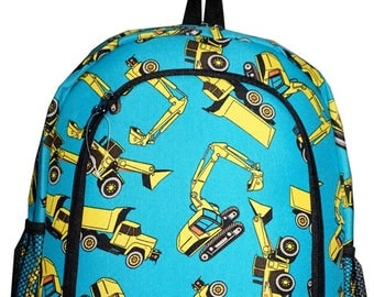 Construction Equipment Print Monogrammed School Backpack