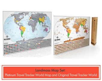 2 Scratch Off World Maps - Set of 1 XL Platinum World Map and 1 Original Travel Tracker World Map - Perfect Gift Set for Travel Lovers