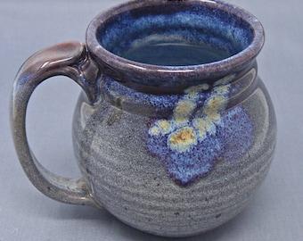 Wheel Thrown Stoneware Mug in Glossy Gray and Purple