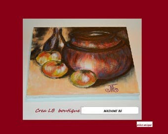 Acrylic still life with the old clay POT
