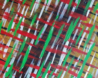 "Red, Green, Brown, Yellow Original Acrylic Abstract Painting on Canvas ""Series 4 XXVI"" Modern Art, Contemporary Art, Wall Art, Wall Hanging"