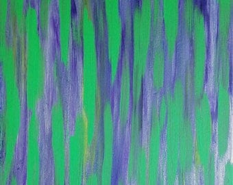 "Purple, Green and Silver Original Acrylic Abstract Painting on Canvas ""Series 5 LXI"" Wall Art, Wall Hanging, Home Decor, Unconventional"