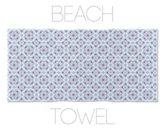 Graphic Towel, Blue And Purple, Barcelona Tiles Beach Towels, Large Beach Towels, Original Beach Towel, Hotel Towels