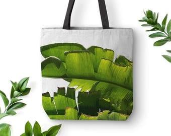 Banana Leaf Bag, Tropical Tote Bag, Banana Leaf Tote, Summer Tote Bags, Picnic Tote, Small Canvas Tote, White Tote Bag