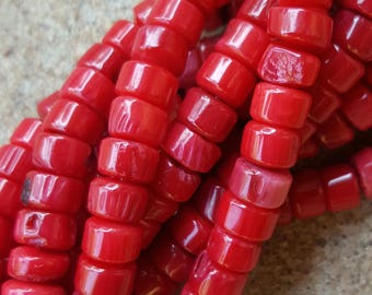 """Dark Red Dyed Coral, 6~7x3~4mm Column Beads - 15.8"""" Strand"""